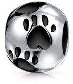 Bling Jewelry Black Enamel Heart Paw Print Animal Bead Charm .925 Sterling Silver.