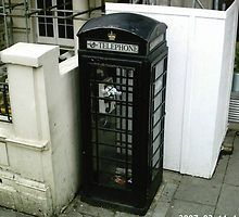 black and white phone booth