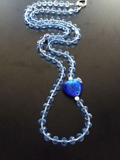 Crystal Handmade Necklace with blue Heart foil glass by BYTWINS on Etsy