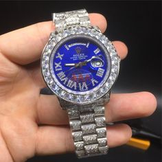 Day-date Iced out Blue Face Roman Numeral Luxury Watch