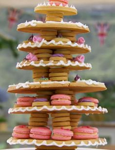 Beca's tiered macaron and sugar dough biscuit centrepiece from series 4 of The Great British Bake Off