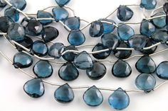Natural london blue topaz heart faceted gemstone by Beadspoint, $89.99