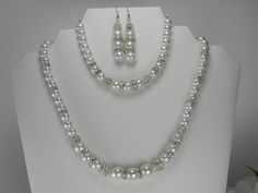 White Pearl 3 Piece Wedding Necklace Set by BridalTreasures4U, $55.00