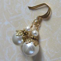 Vintage Inspired Pearl Earrings, Gold Pearl Drop Earrings, Christmas Gift, Bridal, Bridesmaid Earrings, Gold, Ivory or White Pearl Earrings