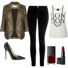 Sequin Blazer by makastyle on Polyvore featuring SELECTED, Topshop, Frame Denim, Jimmy Choo, David Yurman and NARS Cosmetics