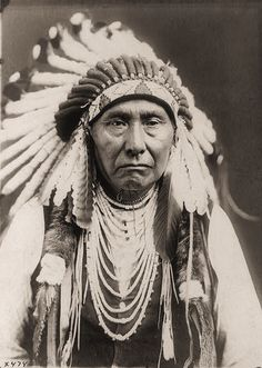 Chief joseph (Nez Perce) wearing a war bonnet and several necklaces