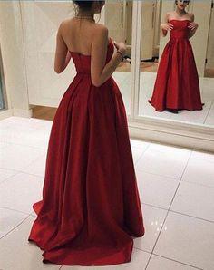 Dark Red satin prom dress, #promdress2017, #darkredpromdress, #redpromdress