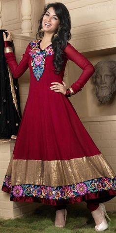 Dashing Maroon Georgette Anarkali Suit.