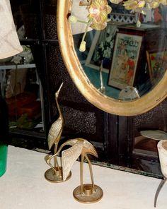 Pair of vintage brass bird sculptures.