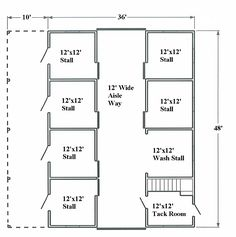 Gambrel barn floor plan. I'd love to have something like this, except I'd make the wash stall my milking room and make the stall across from the tack room a secure feed storage area. You could section off the lean-to area so each stall opened into its own yard, too.