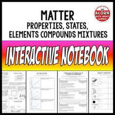Science interactive notebook on matter, states of matter, properties of matter, elements compounds and mixtures.***As a thank you to my followers this resource is half price until Friday 26th June  ***Included in this resource are: Matter Slider Magic Density Triangle with worksheet Properties of solids, liquids and gases (2 types) Changes of state comic book style!With these comics students read a supplied text and then make their own comic using the images supplied. Science Chemistry, Physical Science, Science Notebooks, Interactive Notebooks, Elements Compounds And Mixtures, Properties Of Matter, 8th Grade Science, States Of Matter, Comic Book Style