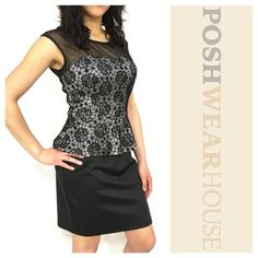 "Black Lace Peplum Dress NWOT • Rear inseam zipper • Has stretch • Length 35"" • Bust 32""-38"" • Waist 28""-30"" • Hips 34""-42"" • Polyester & Spandex.   Like what you see? Follow me! On PM @PoshWearHouse On IG www.instagram.com/PoshWearHouse On FB www.facebook.com/PoshWearhouse Enfocus Studio Dresses Midi"