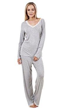 8b75f0cc4f Ladies Gorgeous Soft Pyjama Set Long Sleeve PJ'S Womens Lace Nightwear -  Grey - 14: Amazon.co.uk: Clothing