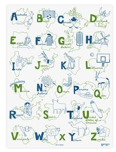 A fun and whimsical travel/alphabet poster in my favorite cool colors. Maptote   Environmentally friendly, reusable totes and more   Made in the USA