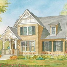 Ellsworth Cottage Plan #1351 | Charming details and cottage styling give the house its distinctive personality.