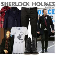 Inspired by Jonny Lee Miller as Sherlock Holmes on Elementary. Sherlock Holmes Elementary, Holmes Movie, Fandom Fashion, Fandom Outfits, Casual Cosplay, Complete Outfits, Ripped Jeans, Autumn Fashion, Jonny Lee