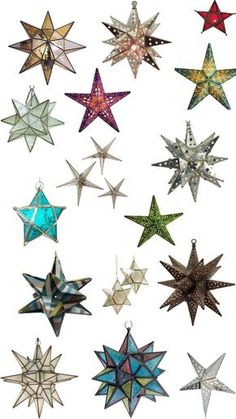 Mexican Star Lights (Moravian Stars) are a motif in the romantic thriller The Hidden Light of Mexico City Look Star, Tin Star, Star Lanterns, Star Candle, Star Wall, Mexican Style, Red Glass, My New Room, My Dream Home