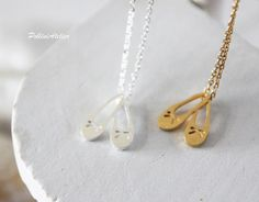 Ballerina Shoes Necklace in Gold/ Silver. Ballet Shoes