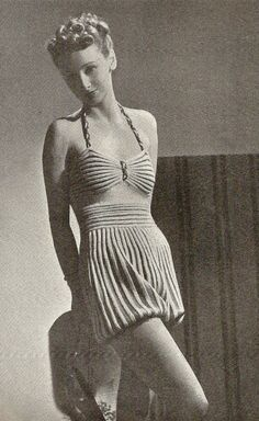 1938 Beach Romper Vintage Knitting Pattern 148 by knittedcouture, $4.50