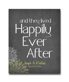 Personalized Wedding Gift Art And They Lived Happily Ever After  Print  1st  Anniversary Names Dates Gray Yellow Flowers Distressed on Etsy, $20.00