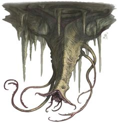 the lurker is an aberration. It is similar to the darkmantle and the piercer, but attacks with suffocation instead of impaling. The Lurker resembles a flat, grey stingray with two small eyes at the front. They are capable of both creeping along a ceiling and slowly gliding through the air. The darkmantle is said to be the result of crossbreeding a lurker with a piercer. Lurkers live underground.