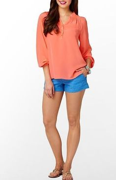 Lilly Pulitzer Elsa Top Silk Hot Coral  #LillyPulitzer #Blouse