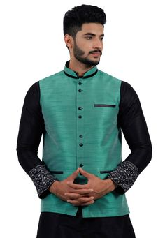 ee069b45dc6 Buy Turquoise Art Silk Readymade Nehru Jacket 156170 online at lowest price  from our mens wear