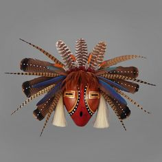 Wright's Indian Art: Wide Pheasant Mask with Copper Eyes by D.