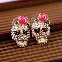 Sale!!! ONLY $3$ !!! Women Girl Fashion Cute Pink Rose Rhinestone Skeleton Skull Ear Studs Earrings