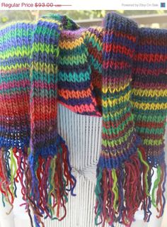 ON SALE Hand Knit Scarf in Bulky Mulit Color  Wool by bpenatzer, $83.70
