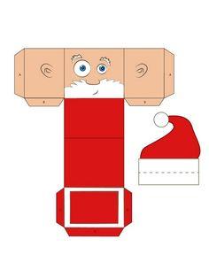 papa Noel para imprimir y hacer cajita navideña