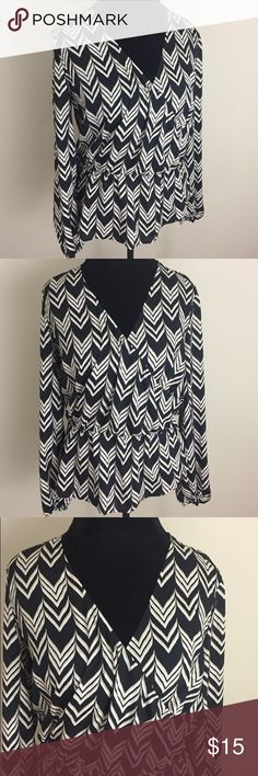 """Ann Taylor Crossover Portofino Style Blouse Shirt Black and cream Ann Taylor Portofino style Blouse. Has cinching at waist and a crossover bustline. Excellent condition with no flaws and looks brand new. Size medium. Made of 100% polyester. Approximate measurements flat and unstretched: pit to pit 20"""", length 25"""". No trades or holds. I negotiate only through the offer button. Any measurements listed are approximate since I am not a seamstress. 🚭🐩T2 Ann Taylor Tops Blouses"""