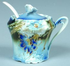 "RS Prussia Mustard Pot, 2.5""h.; Mold 519; Cobalt flow blue with enameled gold outlined morning glory and leaves, green accents"