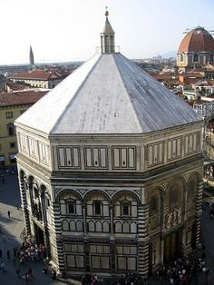 The Romanesque Baptistery of Florence was one of the grandest designs for the renaissance period but what made it more impressive was that it was Filippo Brunelleschi's studies of perspective that lend to its building Romanesque Art, Romanesque Architecture, Classical Architecture, Historical Architecture, Monuments, Florence Baptistery, Filippo Brunelleschi, Medieval World, Medieval Art