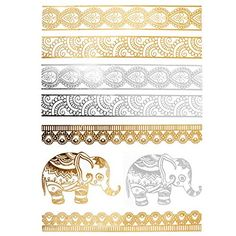 COKOHAPPY Metallic Temporary Tattoo  Elephant Armband Fake Jewelry for Men Women ** Learn more by visiting the affiliate link Amazon.com on image.
