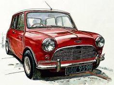 Mini Cooper S, Mini Cooper Classic, Classic Mini, Auto Retro, Retro Cars, Vintage Cars, Mini Drawings, Car Drawings, Car Design Sketch