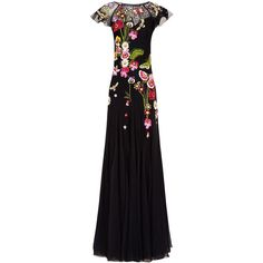 Temperley London Black Aura Lace Dress (58.855 RUB) ❤ liked on Polyvore featuring dresses, gowns, floral lace dress, lace slip dress, floral gown, lace dress and floral print maxi dress