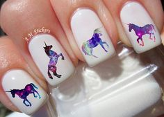 Galaxy Unicorn nail decals, very pretty, bright stickers with unique designs. Galaxy Unicorn nail stickers made on high quality decal paper. These decals can be applied to any type of nails (regular polish, soak off gel, hard gel and acrylic). Pedicure Designs, Toe Nail Designs, Nails Design, Nail Art Stickers, Nail Decals, Cute Nails, My Nails, Unicorn Nail Art, Gel Nagel Design