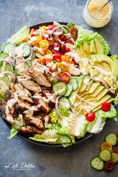 Grilled Cajun Chicken Salad with Creamy Cajun Dressing @cafedelites