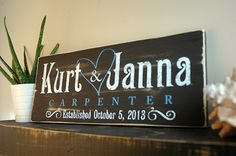 Rustic Family Established Sign with Heart, First Name Last Name Sign, Est. Sign, Rustic Wood Sign Finish