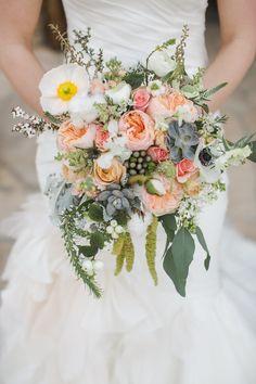 Austin Wedding from Caroline Joy Photography Read more… Floral Wedding, Wedding Colors, Our Wedding, Dream Wedding, Peach Bouquet, Petal Pushers, Wedding Flower Inspiration, Bride Bouquets, Bridal Flowers