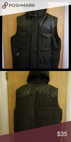 MENS BLACK LEATHER. VEST All black leather vest with hood PARISH NATION Jackets & Coats Vests