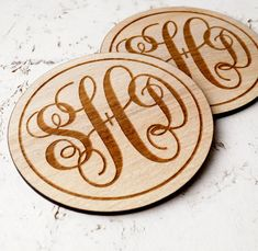 Personalized monogram wooden coasters, laser engraved. A perfect wedding gift idea for a new married couple. Great anniversary gift.  Size:
