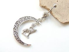 Large Silver Moon and Wolf Navel Ring by SeductiveBodyWorks