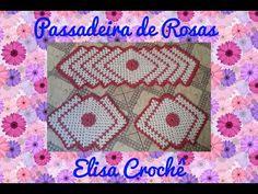 Jogo de cozinha passadeiras flor lilás # Elisa Crochê - YouTube