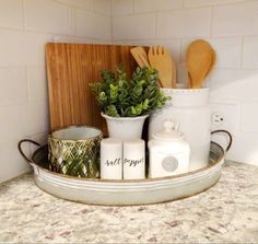 Farmhouse home decor must-haves. Fixer Upper inspired farmhouse home decor. Farmhouse home decor must-haves. Fixer Upper inspired farmhouse home decor. Farmhouse decor staples Always aspired to di. Kitchen Countertop Decor, Farmhouse Kitchen Decor, Home Decor Kitchen, Kitchen Dining, Grace Kitchen, Kitchen Ideas, Farmhouse Ideas, Kitchen Counter Inspiration, Kitchen Tray