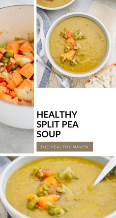 This creamy and hearty Healthy Split Pea Soup is packed full of vegetables and plant-based protein for a delicious meal in one! A healthy vegan soup recipe ready in 40 minutes or less. Split Pea Soup Recipe, The Healthy Maven, Recipe Ready, Healthy Soups, Bowl Of Soup, Vegan Soup, Healthy Soup Recipes, Plant Based, Food Ideas