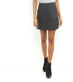 Black Stripe A-Line Skirt    New Look