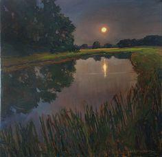 "Midnight Swimming Hole by Jan Schmuckal Oil ~ 30"" x 30"""