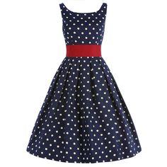 vintage allday πουά φόρεμα Lane blue